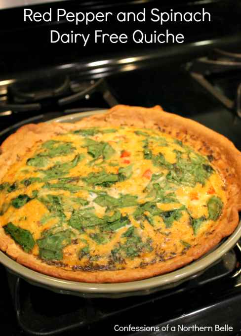 Red Pepper and Spinach Dairy Free Quiche
