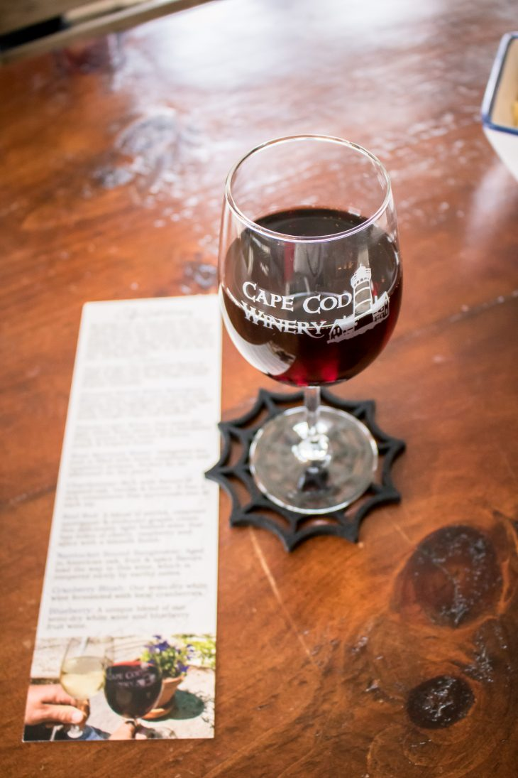 Full glass of wine at Cape Cod Winery