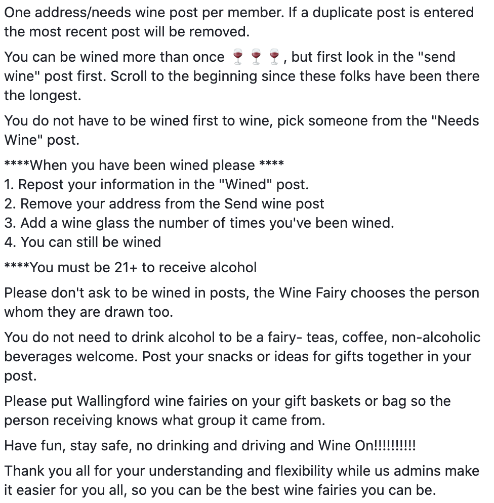 rules for wine fairy group