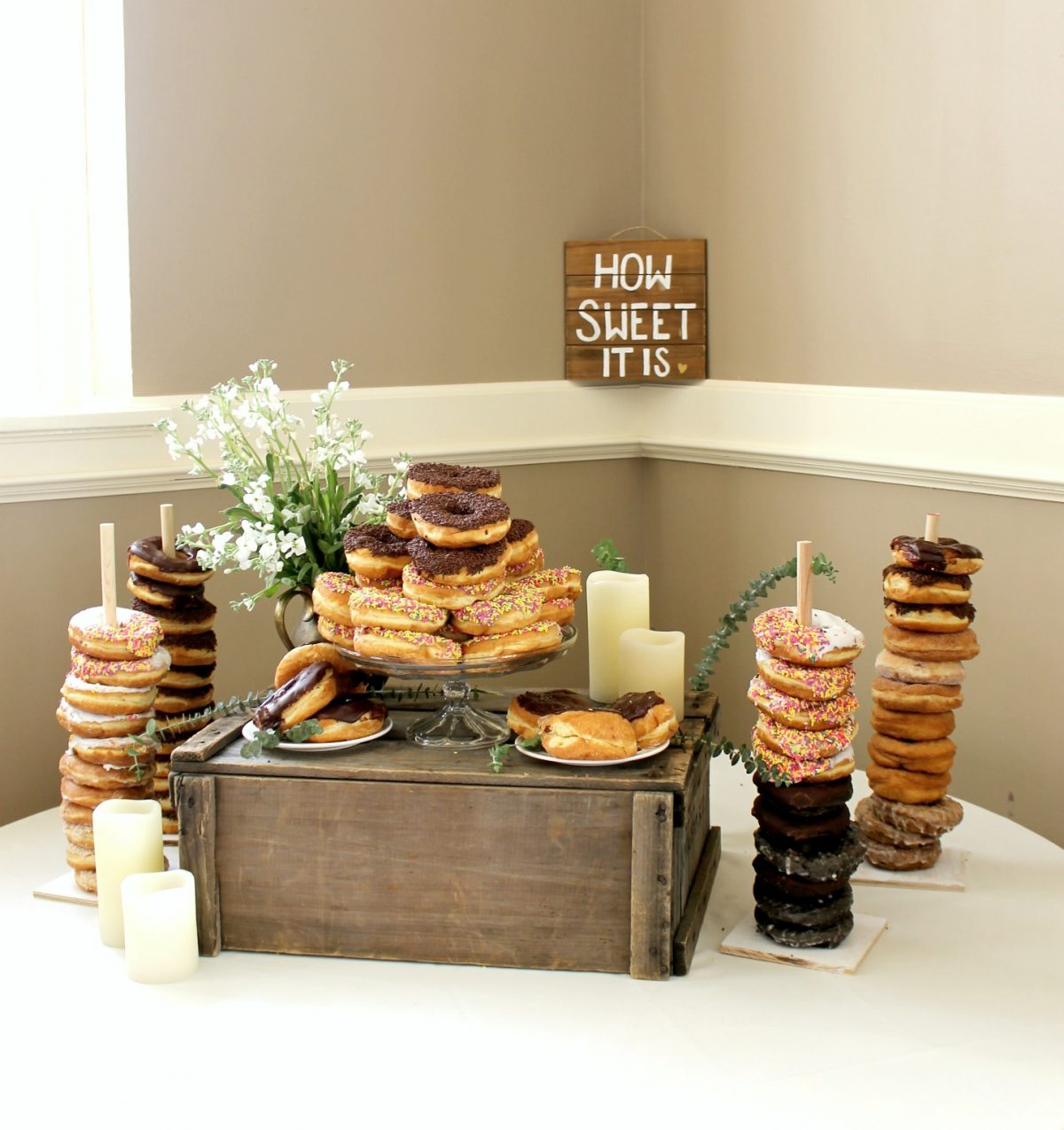 Donut Bar at Bridal Shower How Sweet It Is