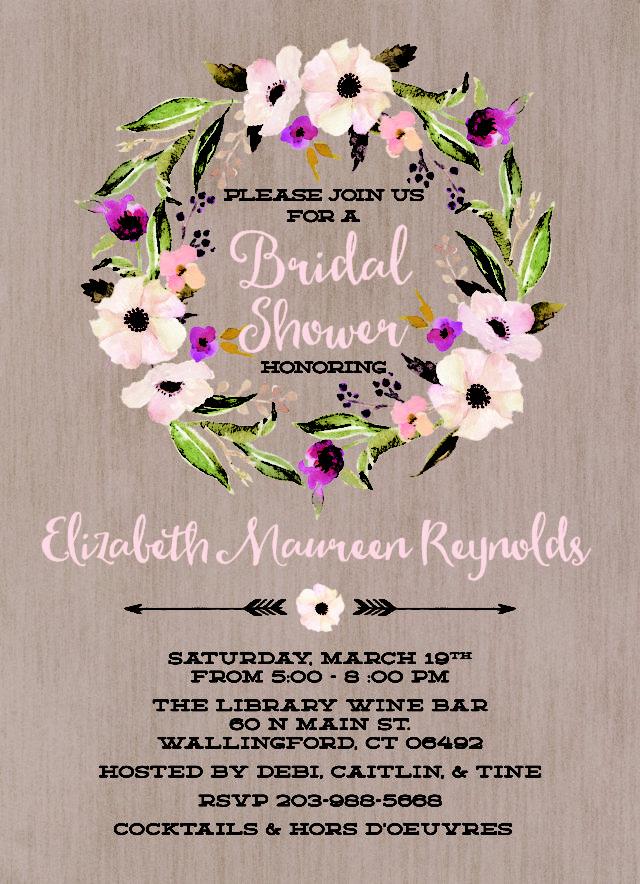 Rustic Bridal Shower - Rustic Floral Invitation