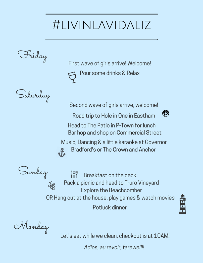 Bachelorette Party Graphics Itinerary