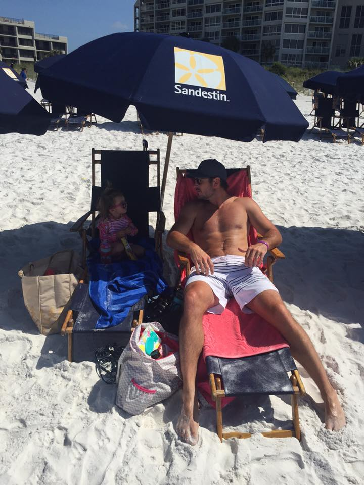 First Day of Summer at the Beach Sandestin Dad and Toddler Daughter
