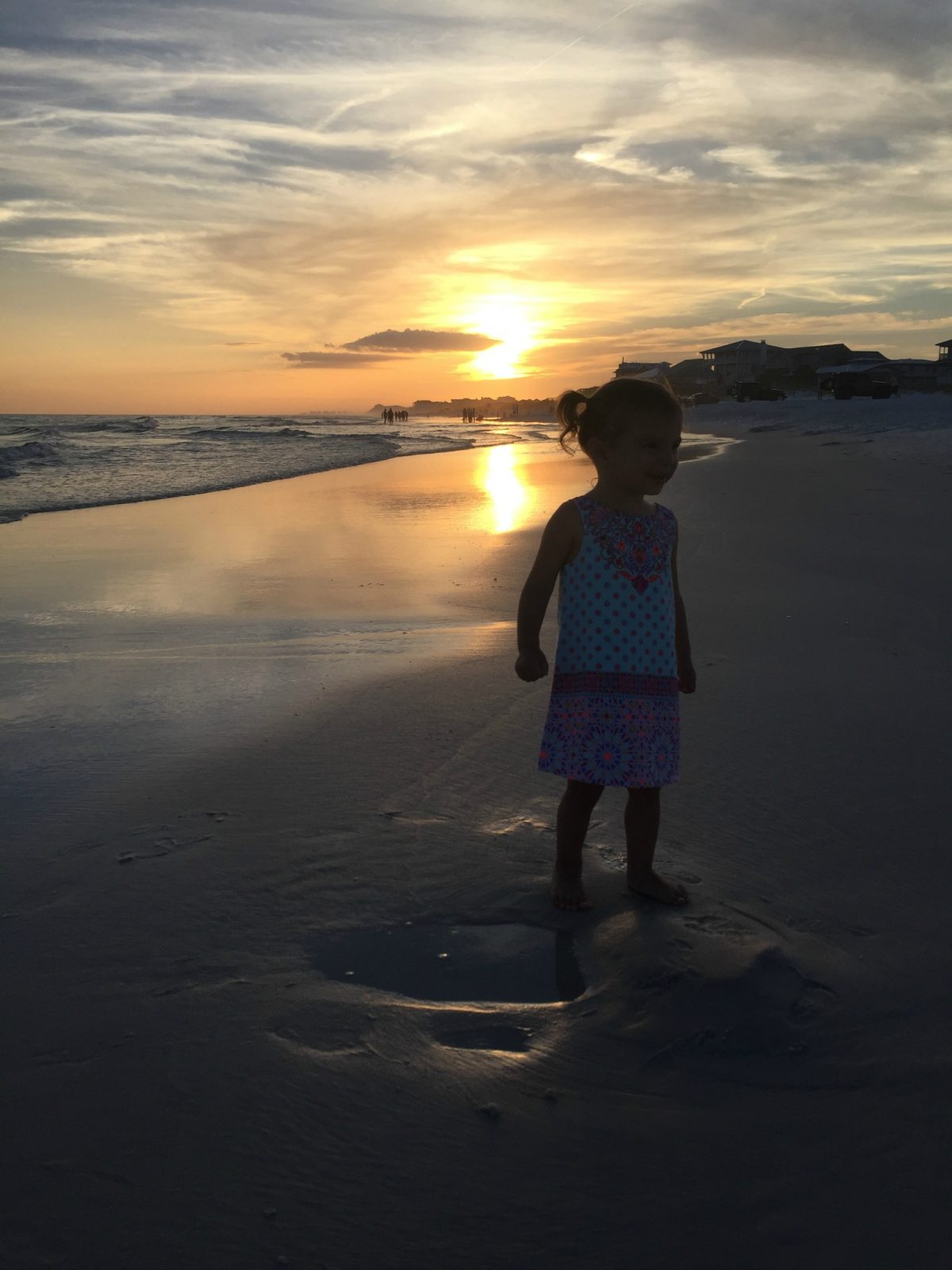 Toddler Standing on Sand at Sunset on Grayton Beach First day of Summer