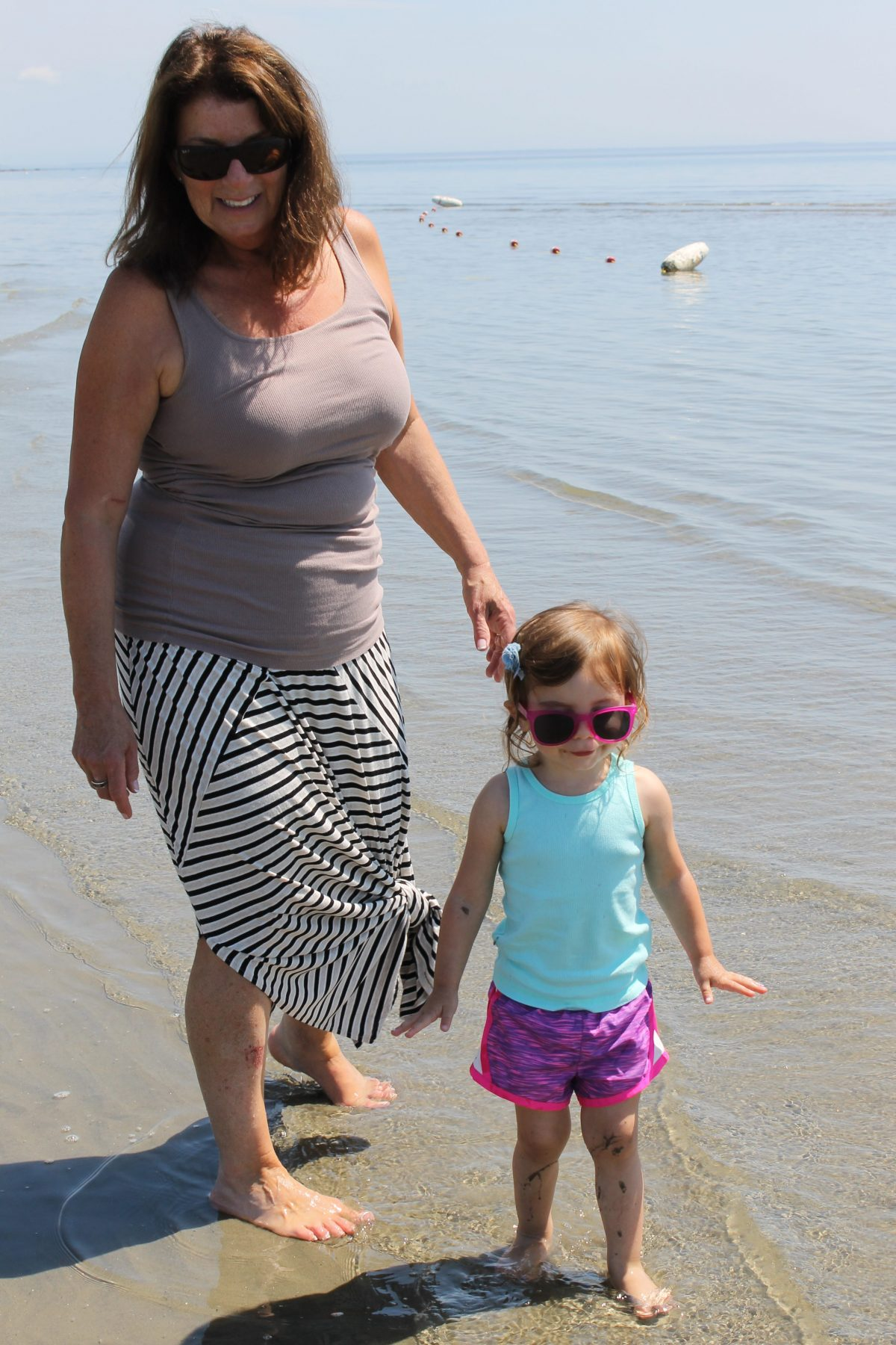 Noni and Child on Old Saybrook Beach