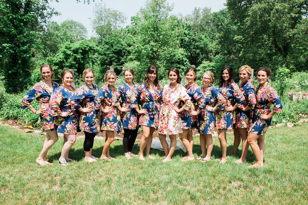 Bridal Party in Floral Bathrobes