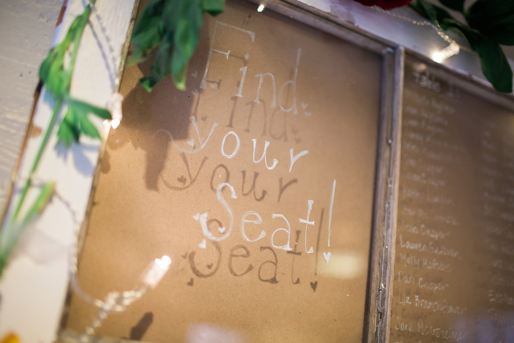 Find Your Seat Wedding Chart on Glass