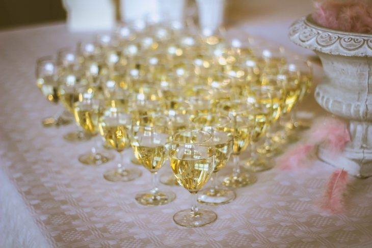 champagne and wine flutes lined up