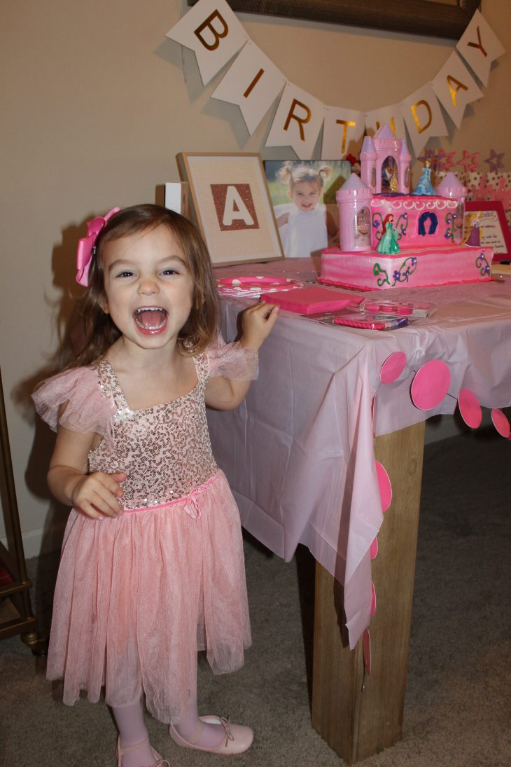 Little Girl wearing a Ballet Dress at her Ballerina Themed Birthday Party