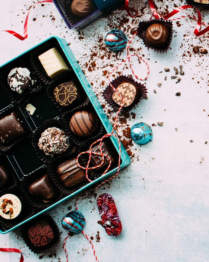 chocolates for christmas in a box