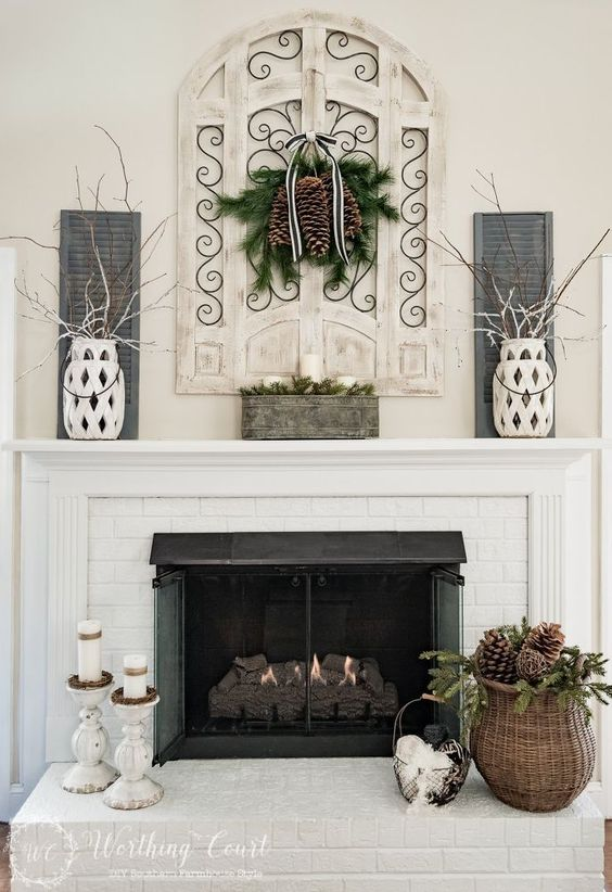 Winter Decorated Mantle