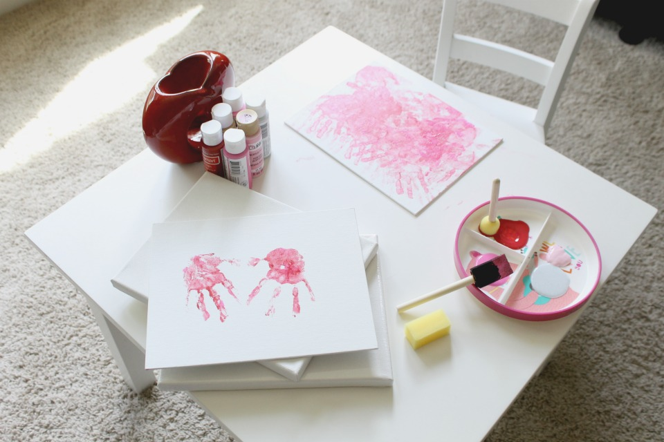 art supplies on table for making valentine's day crafts
