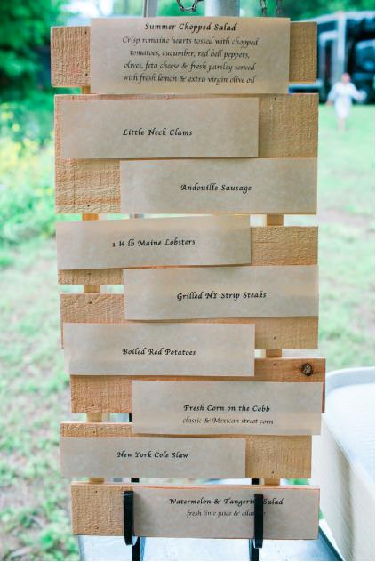 Menu Display on Wood Pallet