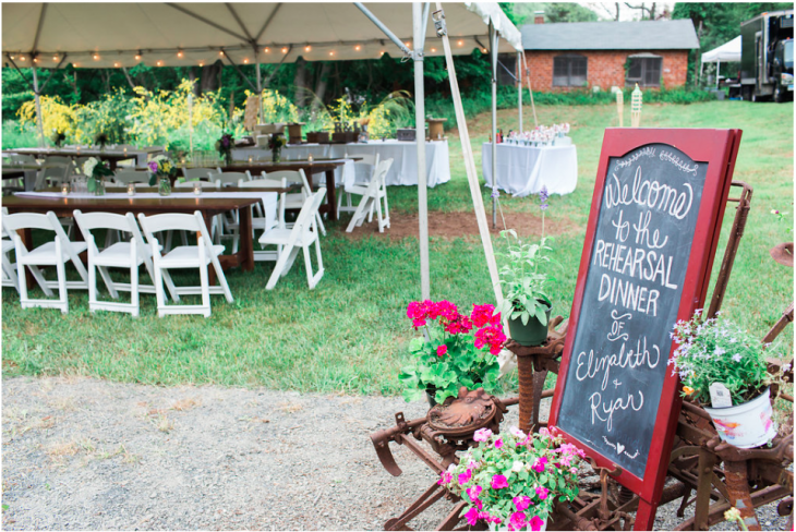 Chairs and Tables with Twinkly Lights under White Tent and Rehearsal Dinner Sign
