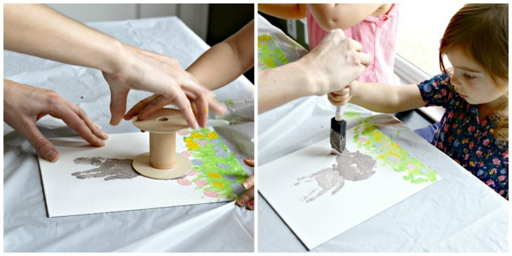 Painting details on homemade easter bunny artwork