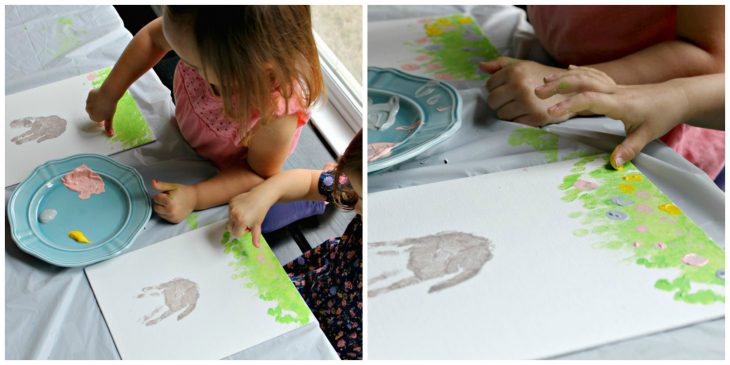 thumbprint details on homemade easter bunny artwork
