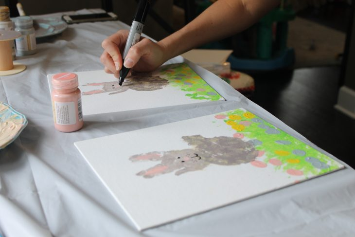 Adding details to handprint artwork rabbit