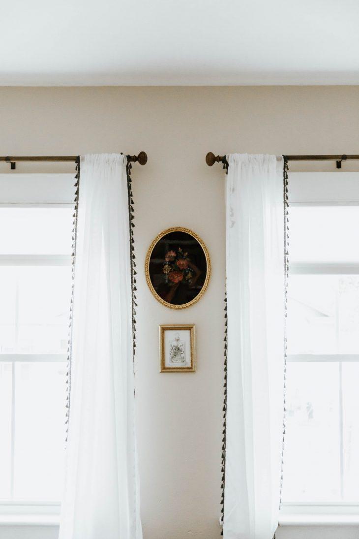sheer white curtains black detailing