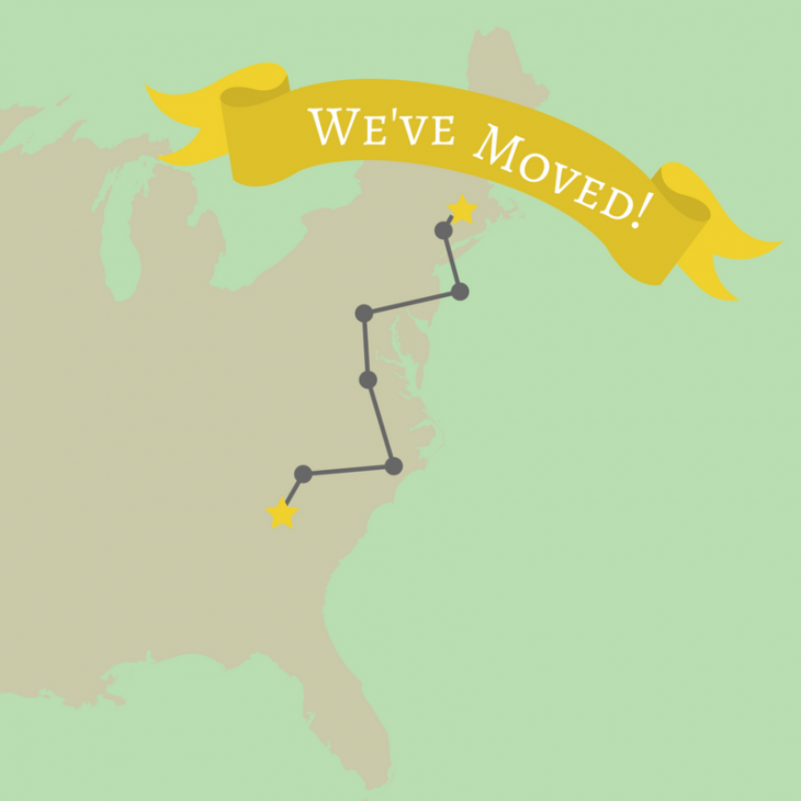 We've Moved announcement with map