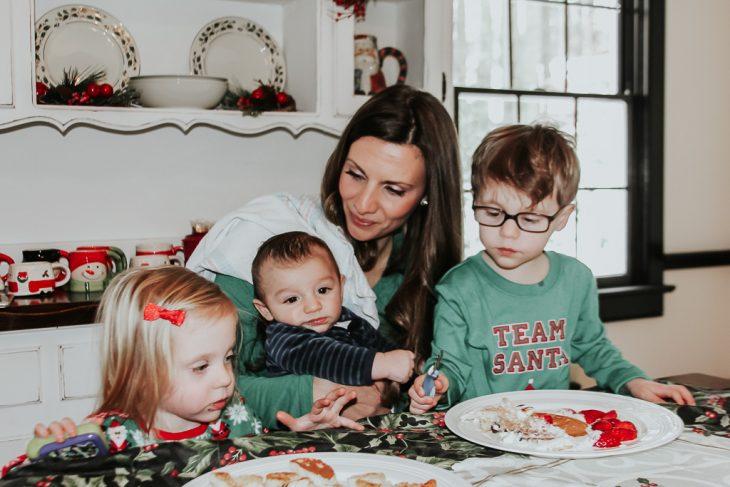 Kids and Mom Eating Christmas Pajamas