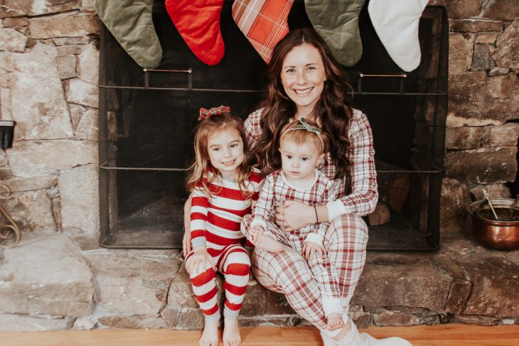 Mom and Daughters in Matching Christmas Pajamas