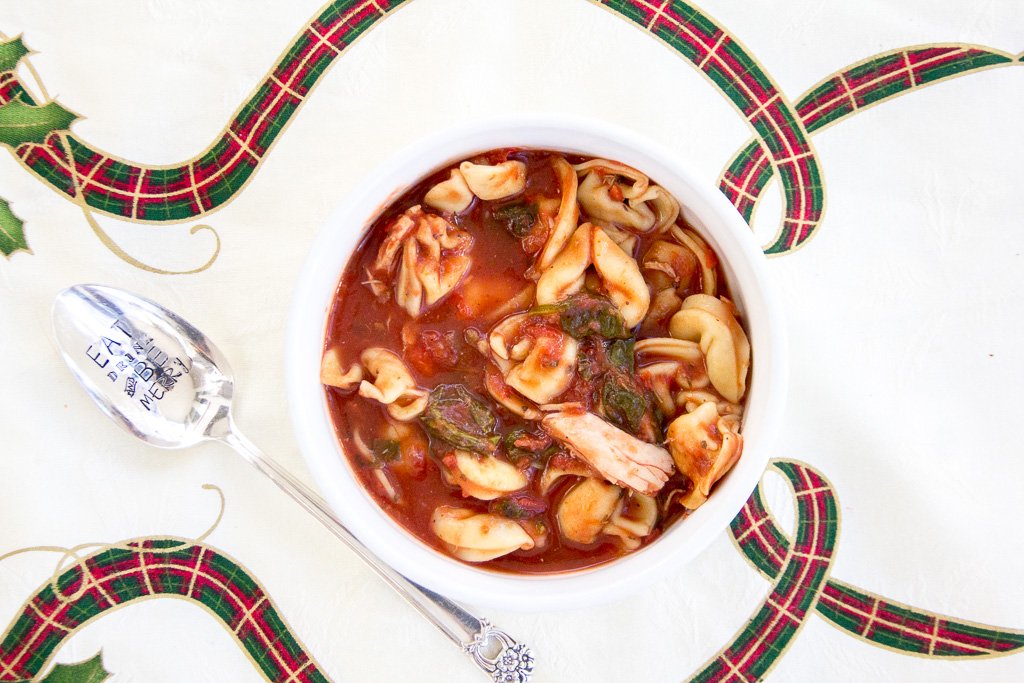 Tortellini Soup with Spinach and Chicken