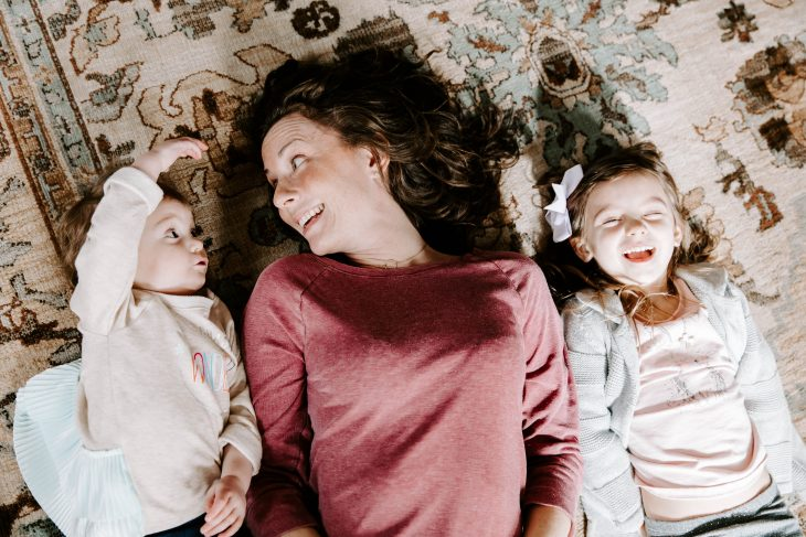 Mom and Daughters Having Fun at Home