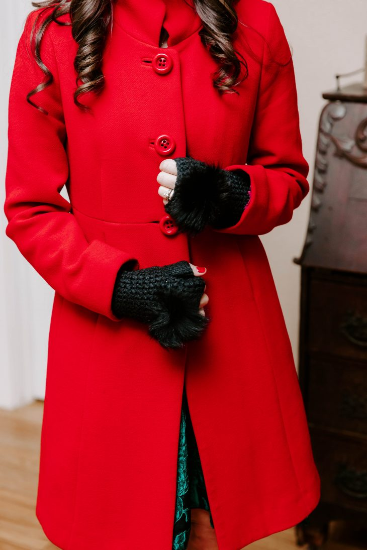 Winter Red and Fur Gloves