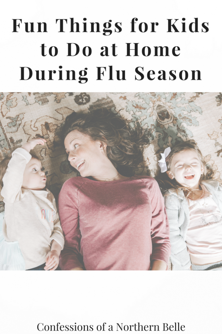 Mom and Daughters Having Fun at Home During Flu season
