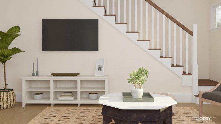 Open TV Console Octagon Coffee Table Jute Rug