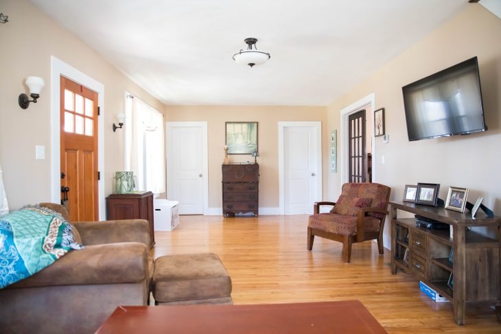 Living Room With Tan and Brown Furniture