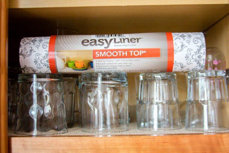 glasses in cabinet