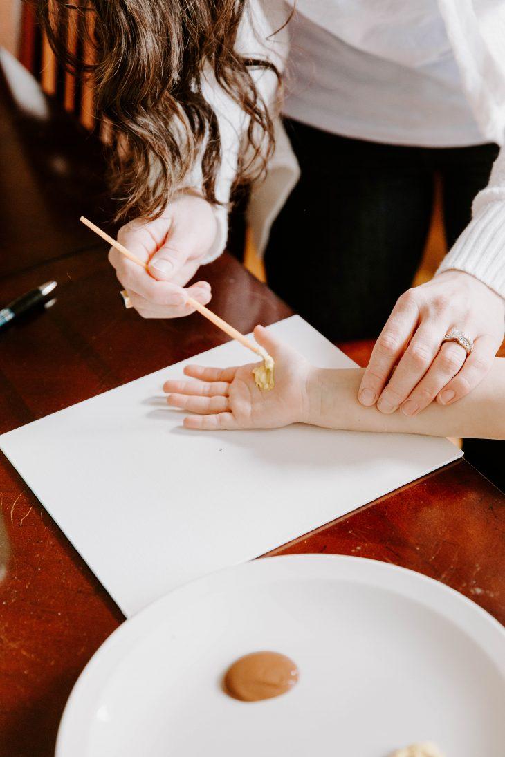 Handprint flowers painting hand
