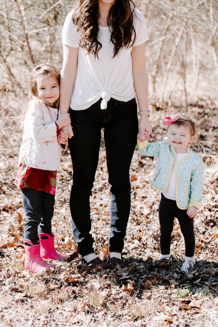 Purpose as a Blogger - Build a Community -Two young girls holding Mom's hand