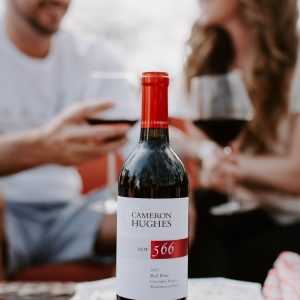 Wine and Couple Laughing