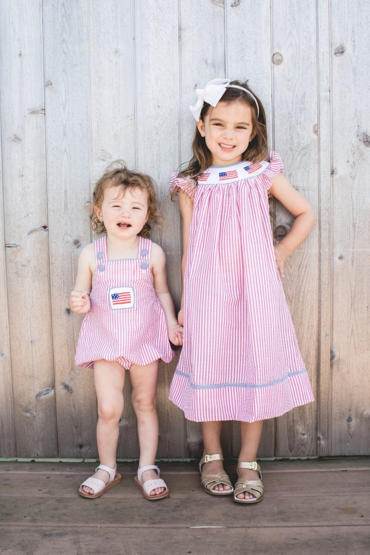 Sisters in Fourth of July Smocked Outfits - Bella Bean Kelly - Hamptons - Confessions of a Northern Belle