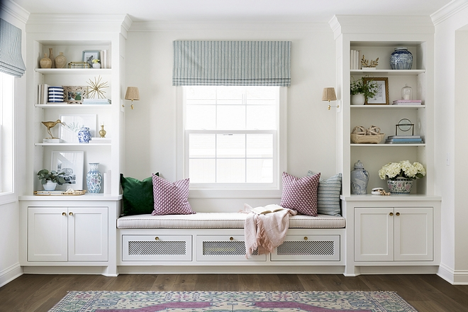 Built in Shelves with Blue Decor