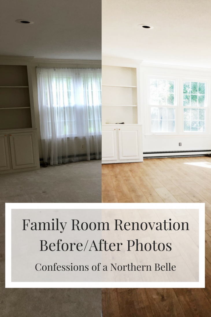 family room before and family room after renovation
