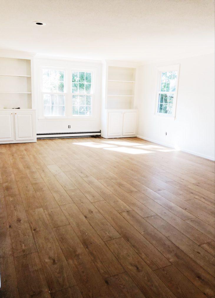 White Family Room Hardwood Floors