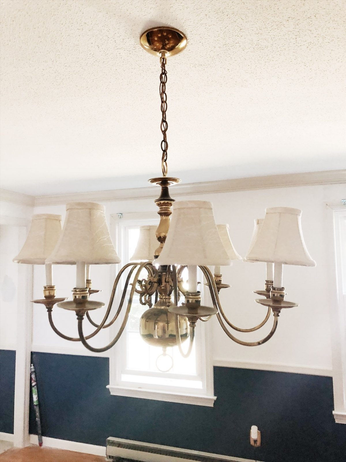 5 light shaded gold chandelier