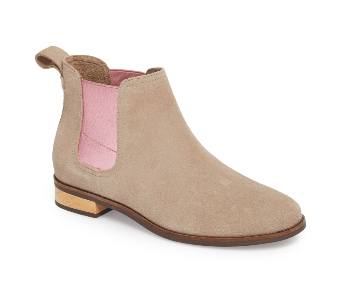 Tan and pink flat bootie