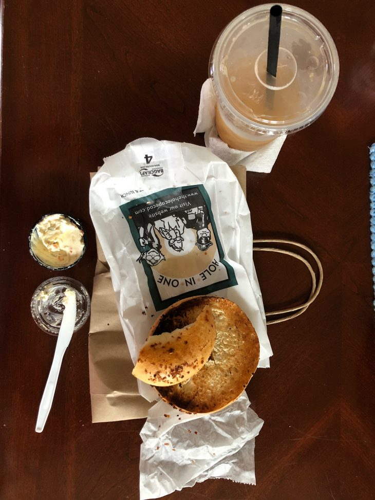 Onion Bagel and Cream Cheese