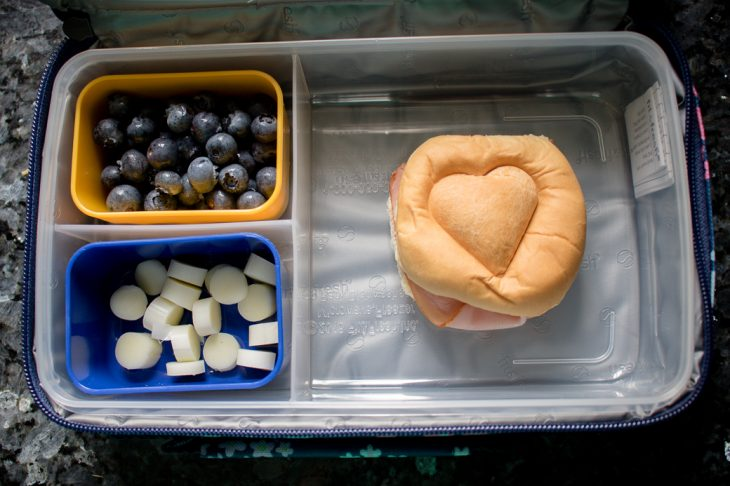 Ham sandwich with heart shape, blueberries, string cheese bento box