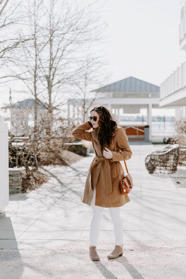 Camel Peacoat, White Denim, Booties, Fall Style