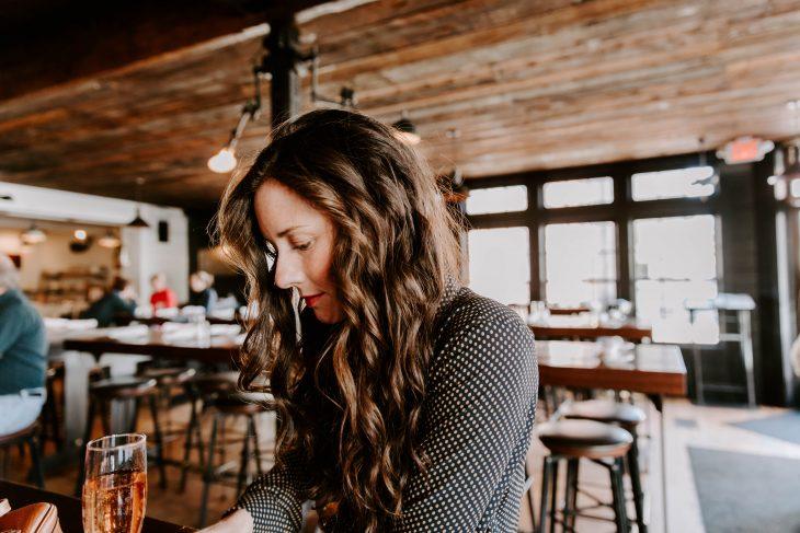 Woman Drinking Rose at a Newport Bar Blogger Struggle