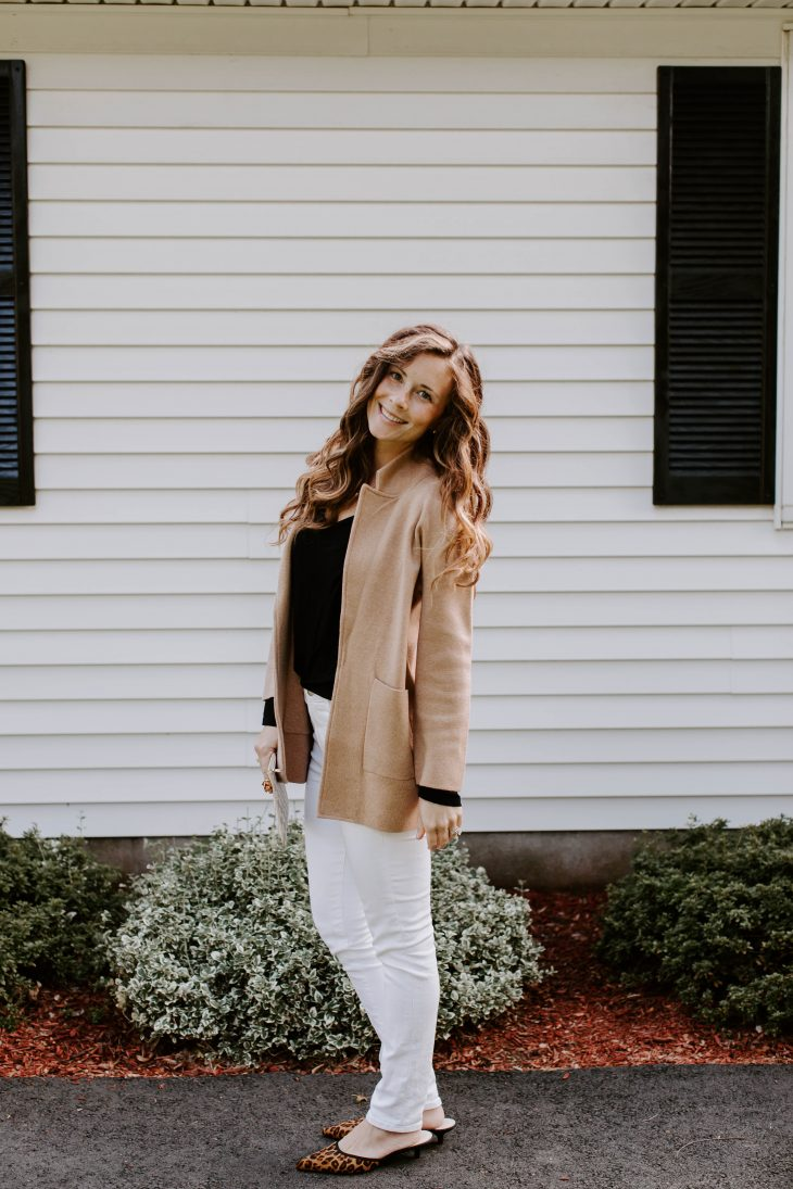 Date Night - White Denim, Black Top, Camel Sweater Blazer, Leopard Mules