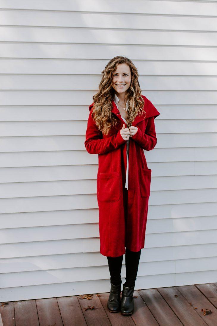 Full length red coat
