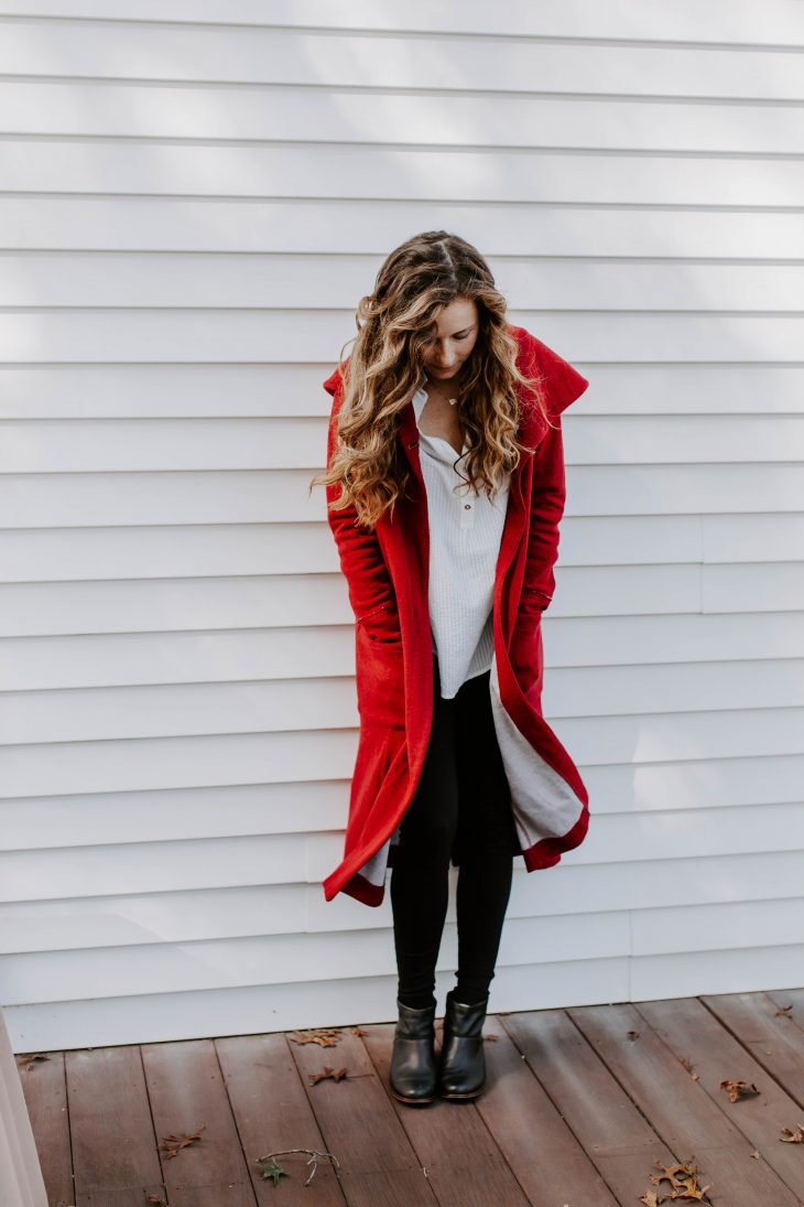 Long Red Knit Coat - Evies Tree
