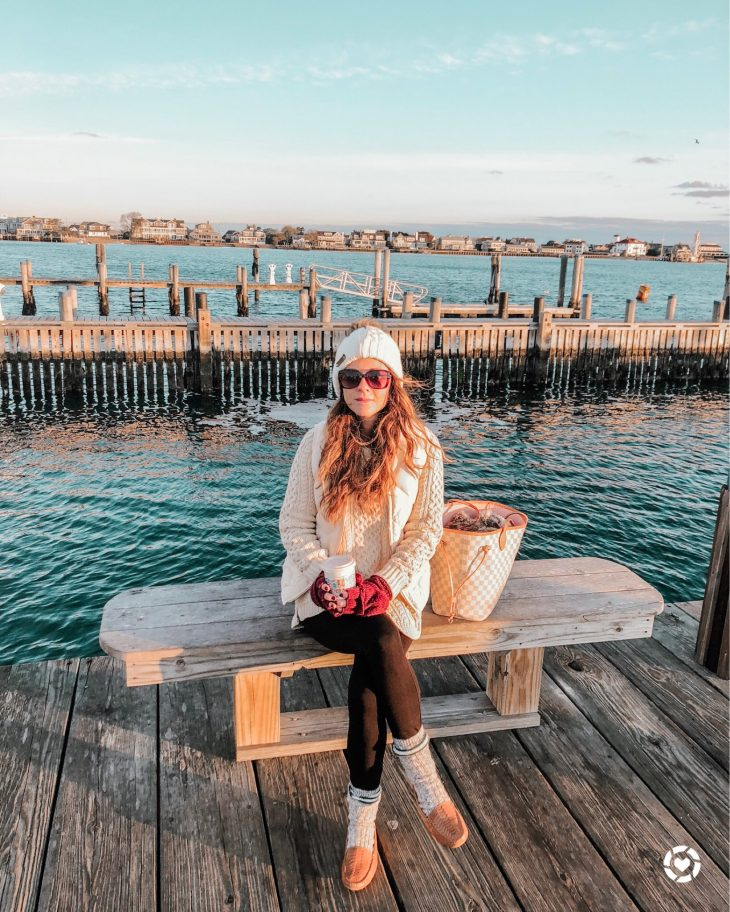 Winter Hat, Gloves, Puffer Vest, Warm Shoes - Nantucket Sunrise Outfit