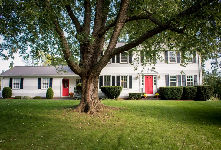 White Colonial Black Shutters Red Door